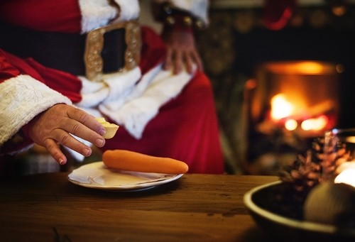 Santa with a mince pie and carrot for Rudolph